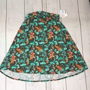 NWT LulaRoe Brown And Teal Azure A Line Skirt XL